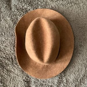 Tan Felt Hat with Belt Like Strap Detail